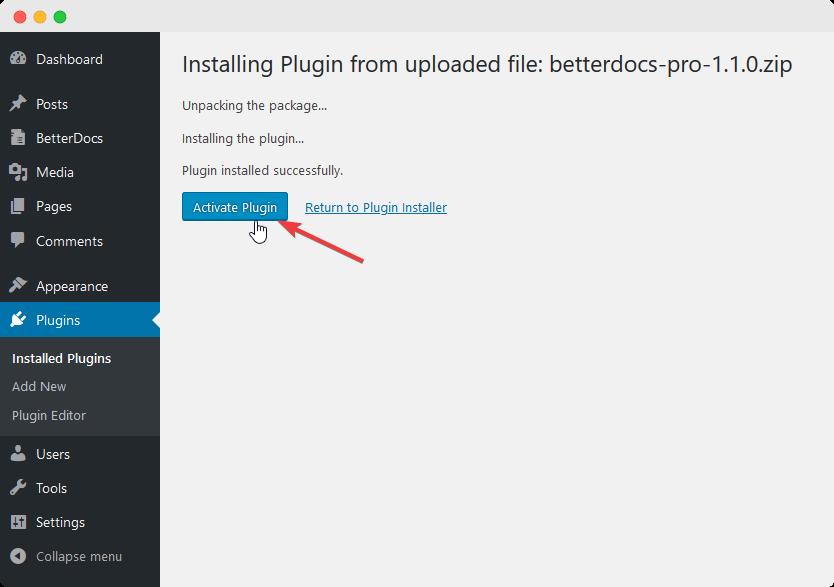 Installez BetterDocs PRO
