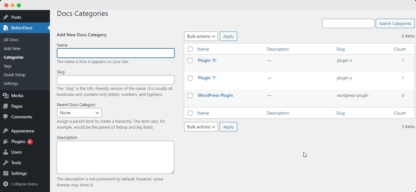 sort & organize categories BetterDocs