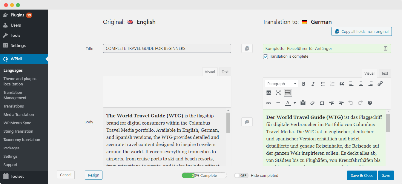 Translate BetterDocs WordPress Documentation WPML